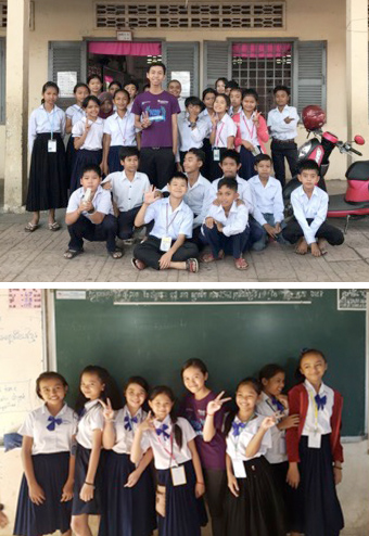 Volunteer teachers and students in Cambodia