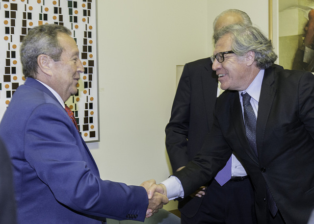 Vinicio Cerezo, President of Esquipulas Foundation meets Luis Almagro, OAS Secretary General