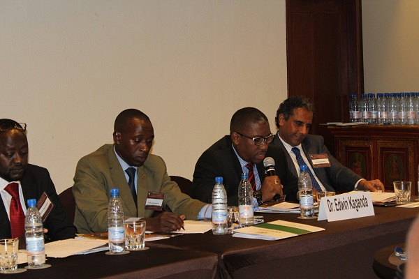 Dr.Edwin Kaganda speaks at business roundtable at Global Peace conference.