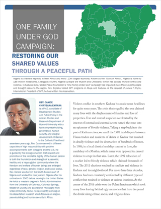 Image of White Paper cover page, entitled, Restoring our Shared Values A Reflection by Rev. Canice Chinyeaka Enyiaka