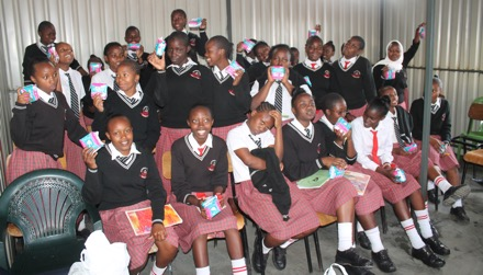 Girls receive sanitary towels