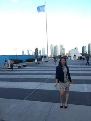 Teresa Wang outside the United Nations during IYLA 2016