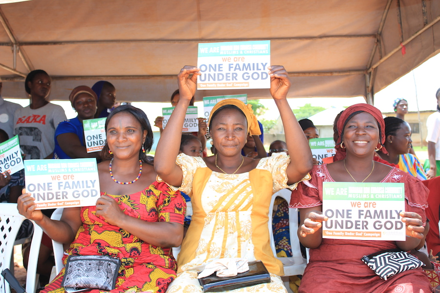 Women at the Maraban Peace Festival show support for interfaith campaign