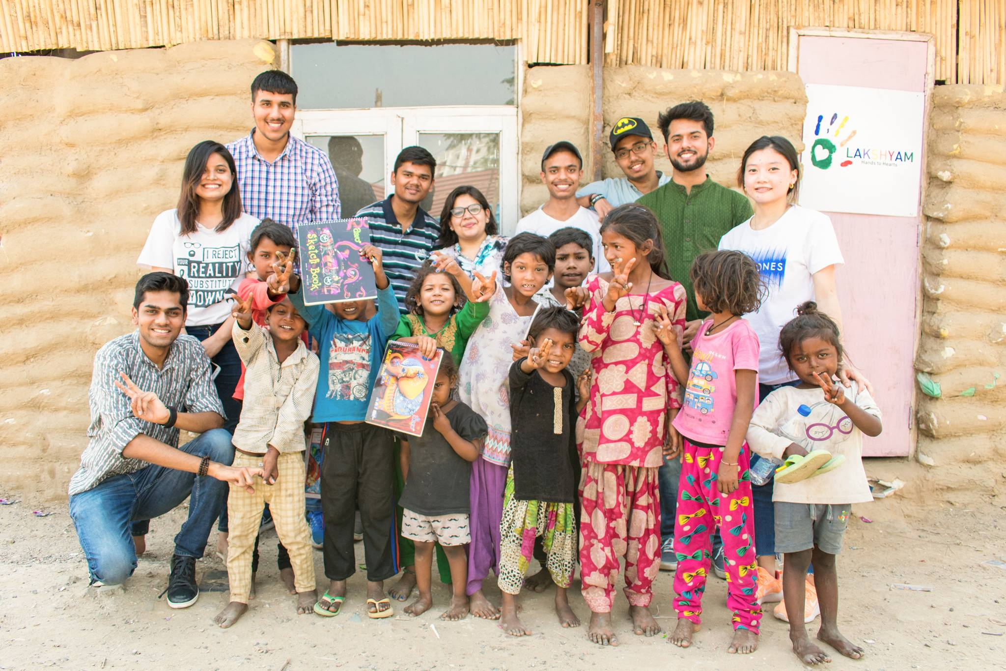 GPF interns with Indian children living in slums
