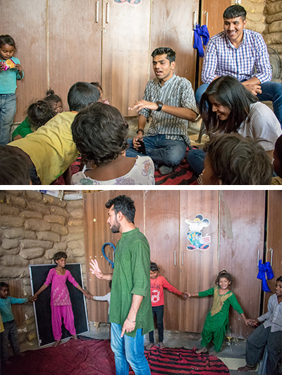 Global Peace interns do activities with Indian children in slums
