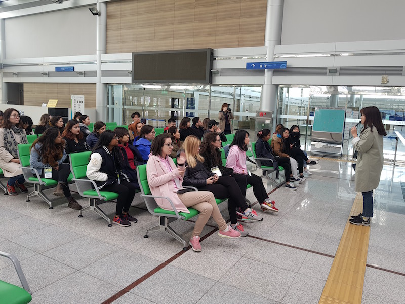 Peace Ambassadors listen to presentation inside Dorasan Station
