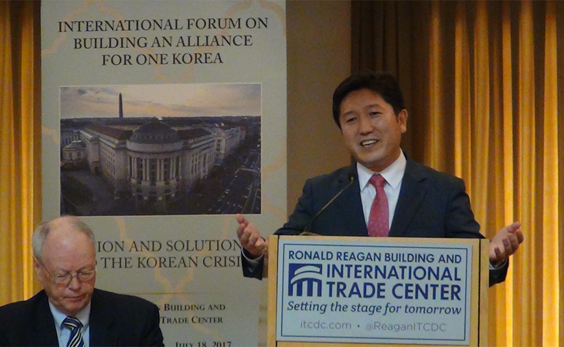 Inteck Seo welcomes One Korea forum attendees