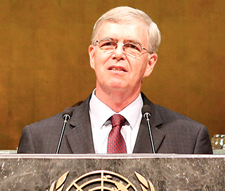 James Flynn at United Nations for International Young Leaders Assembly 2015.