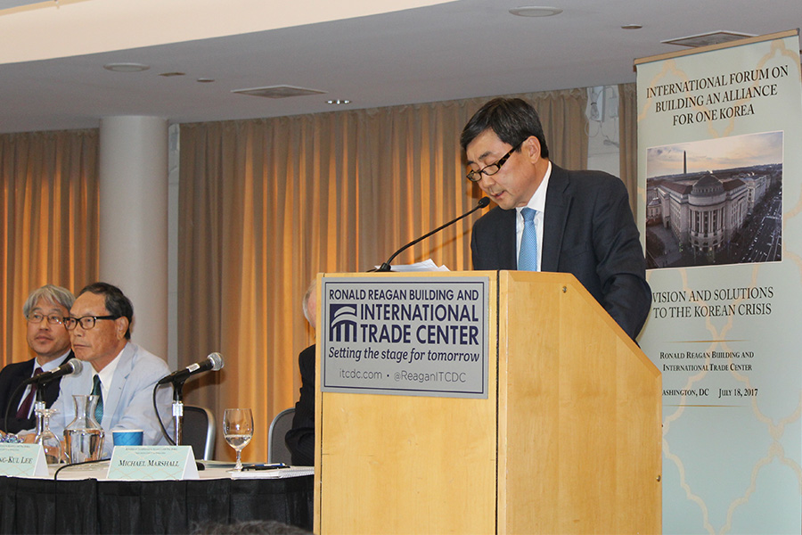 Jong kul Lee addresses One Korea Forum