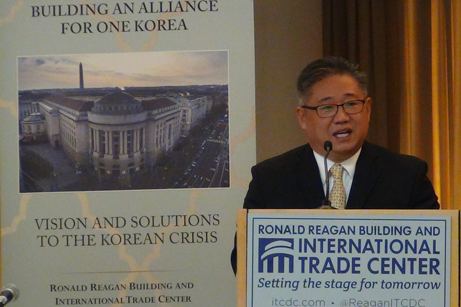 Kenneth Bae speaks at the One Korea forum in DC