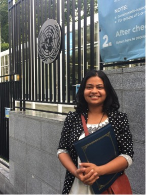Kripa Sigdel in front of the United Nations