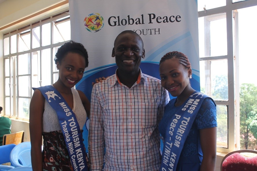 Mr. Arthur Wasonga with Miss Peace and Miss Tourism of Tharaka Nithi County