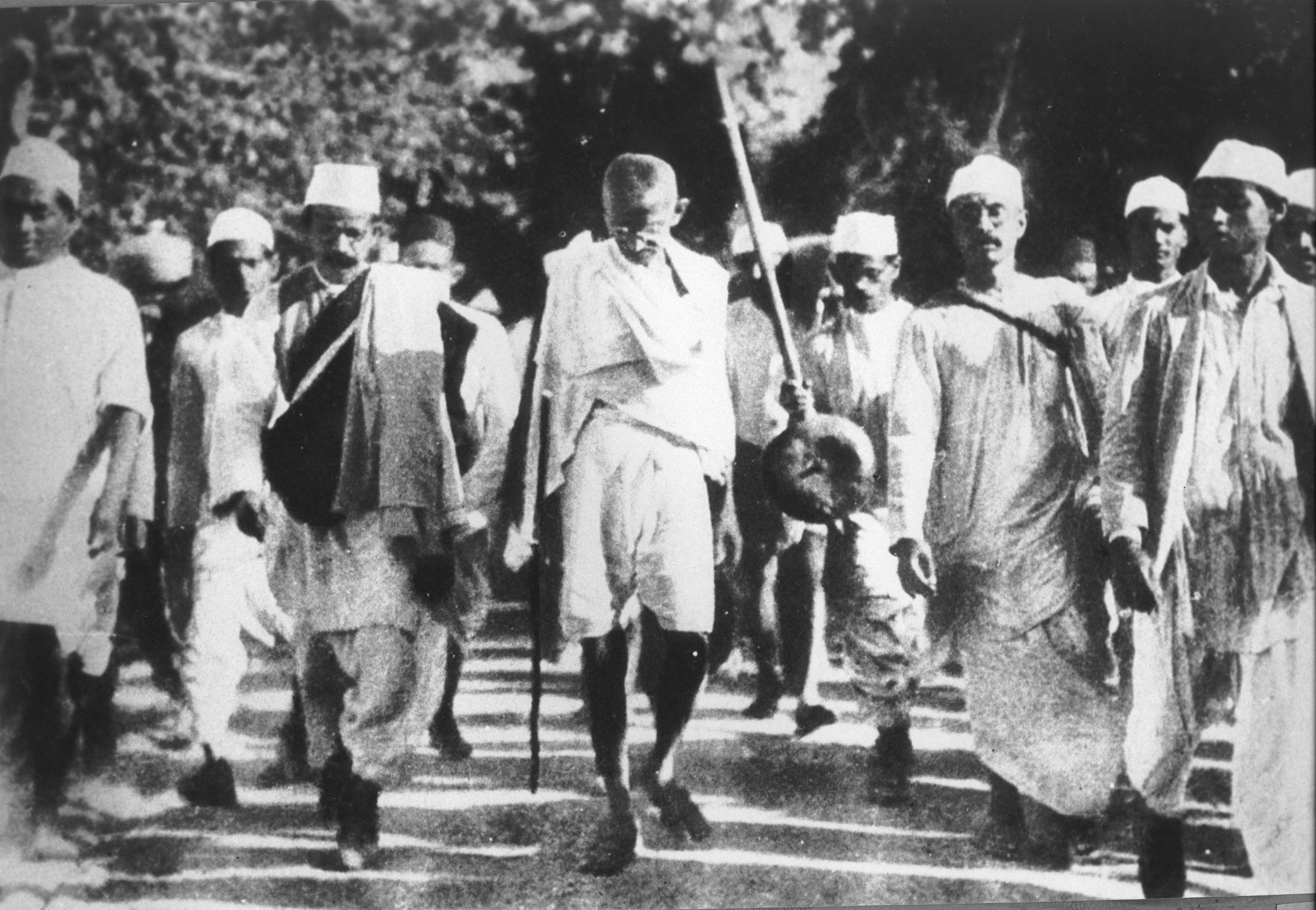 Gandhi peacefully protests in the Salt March