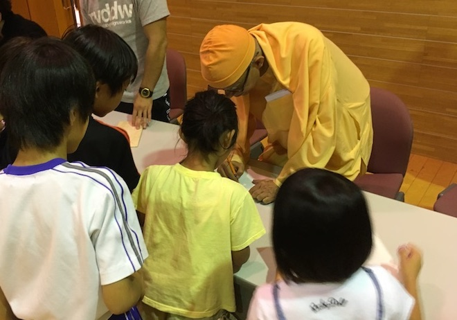 Swami Shantatmananda visits children at orphanage in Japan