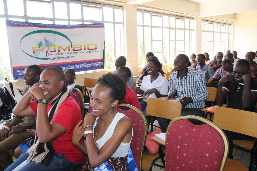 The youth during the presentations from the Panelists at the Campus Peace Forum