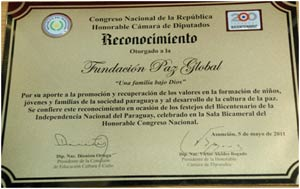The National Congress of Paraguay awarded the GPF Paraguay a special award