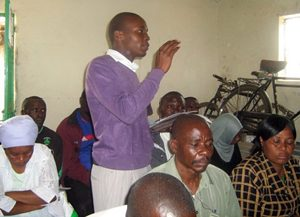 A Community-Driven Development committee member makes a point during the Inaugural  meeting, hosted by GPF Kenya.
