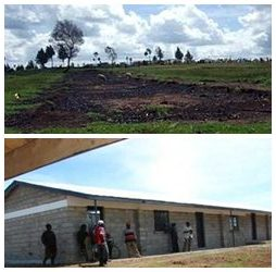 Top: Vacant lot of a burned school during the post-election violence in 2007; below: a newly constructed classroom.