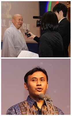 Top: Global Peace Faith Award-winner, Buddhist Monk Bupta. Below: Global Peace Service Award-Winner, Indonesian entrepreneur Goris Mustaqim, at GPC 2011.