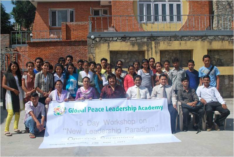 "Participants and staff at the opening ceremony of GPLA 15-day workshop, ""New Leadership Paradigm"" sponsered by GPA Nepal and GPYC Nepal."