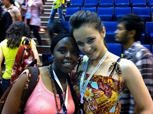 Kenyan student Eunice Njung'e with a delegate at the Tunza Conference in Bandung, Indonesia.