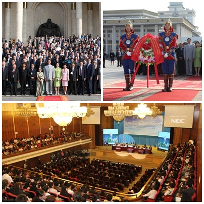 International leaders honor Mongolia's founders at a wreath-laying ceremony, Global Peace Leadership Conference.