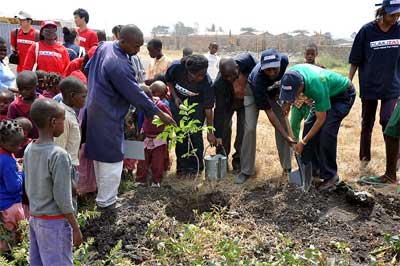 Tree planting at the Liberty Children's Home where GPF and GPYC visited Liberty Children's Home in Mlolongo.