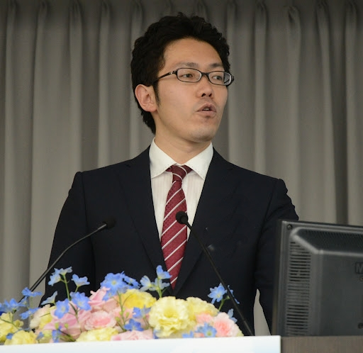 Mr. Hirofumi Sueyoshi at GPF's Global Peace Leadership Conference in Tokyo, discussing disaster preparedness in Japan.