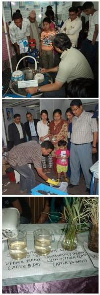 Top: Dr. Ramesh Kumar Maskey; center: GPYC Nepal President Mr. Drubha Lamicchane; bottom: a water purification exhibition
