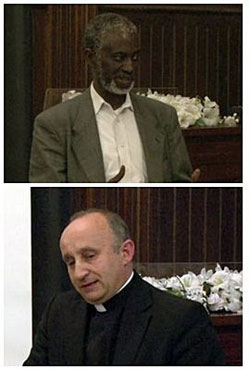 """Top: Dr. Sulayman S. Nyang and below: Rev. Mark Farr at the forum called, """"The Role of Religion in Pluralistic Societies."""""""