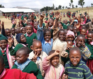 Children from Kikuyu, Kisii and Kalenjin tribes at the new GPF-supported school in Melo.