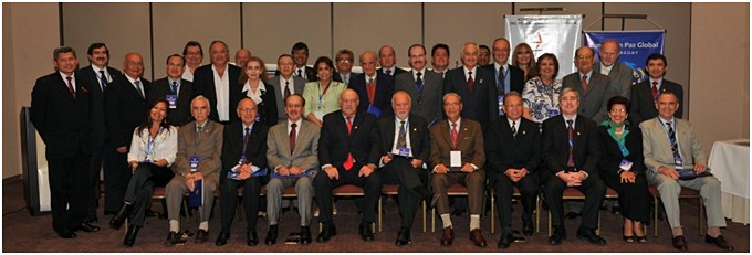 """A group shot of the high-level workshop, """"Democracy, Inequality and Citizens' Security"""" in Asuncion."""