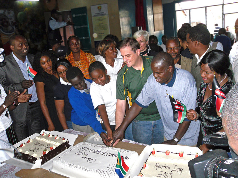 A cake-cutting ceremony in honor or Mr. Mandela at Kilimani Primary School.