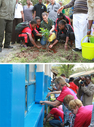 Above: Mr. Christian Kriek, planting a 'Madiba tree' with assistance from volunteers; Below: painting the exterior of the library.