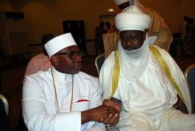 Pastor Ayo Oritsejafor, president of the Christian Association of Nigeria (left) greets the Adoma of Doma.