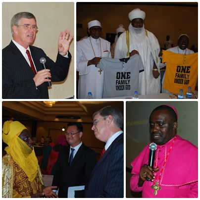 """Left top: GPF President James Flynn; Right top: Christian and Muslim leaders unite under """"One Family Under God"""";Bottom left: H.E. the Emir of Abuja meets with Insu Choi and James Flynn; bottom right: Bishop Sunday Onuoha faciliated the meeting."""