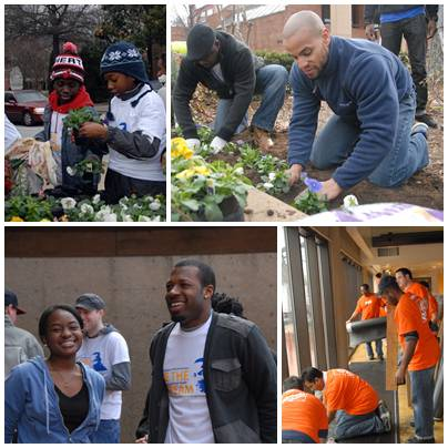 Volunteers, young and old, provide landscaping, cleaning and refurbishing services at the King Center in Atlanta.