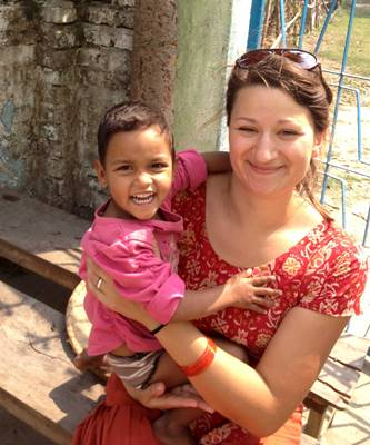 Hanna Morrison at the Nepal Children's Center.
