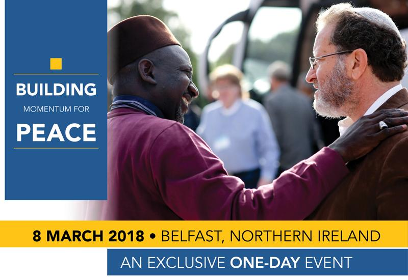 Poster for one day conference on March 8, 2018, in Belfast, Northern Ireland, entitled Building Momentum for Peace