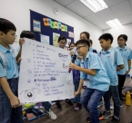 Junior Changemakers Workshop participants in Malaysia present activity