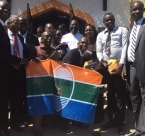 President Odinga with youth participants at Global Peace conference in Zanzibar.