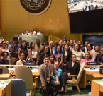 Group photo of Shinnecock Youth Council at the United Nations during the 2015 International Young Leaders Assembly
