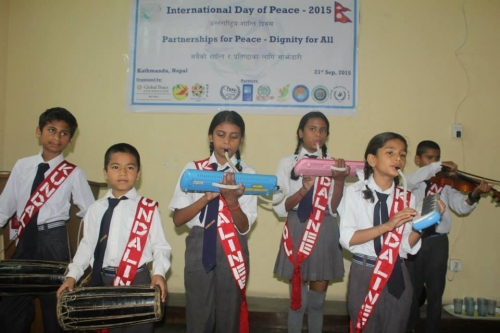 Nepalese Children Perform at the International Day of Peace Celebration