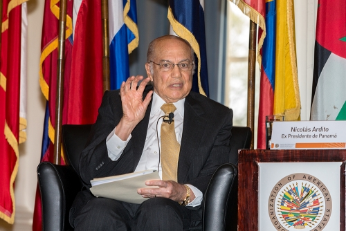 Nicolas Ardito Barletta of Panama at a gathering of Former Presidents of Central America