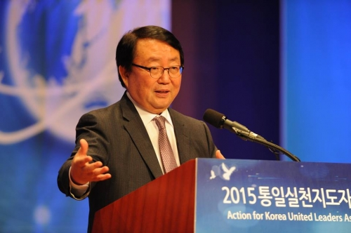 Hon. Gap-san Lee, President of Korea NGO Association, sharing about the progress of Action for Korea United.