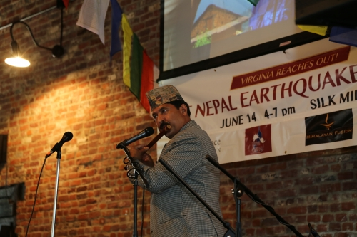 Prem Raja Mahat at VA fundraiser for Nepal relief efforts.