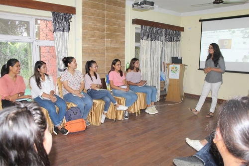 Ms. Sijal Pokharel, a finalist in the South Asian Debate Competition held in Dhaka, Bangladesh, gives a session on mindful public speaking