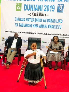 Sophia Mbeyela is a founder and Director of Peaceful Life for People with Disabilities Foundation (PLPDF), emphasizes on inclusiveness in all stages of decision making