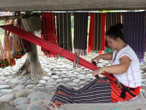 Local Philippines traditional process of creating clothing.