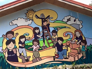 Mural painted on school building by Global Peace Foundation volunteers.